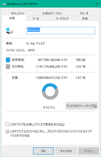 換装後のSSDの容量